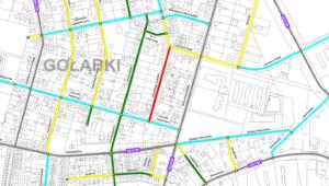 Mapa stanu nawierzchni jezdni (fragment) – ocena wg metody BIKB-IBDM (Dzielnica Ursus m.st. Warszawa)